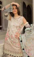 Digital Print Embroidered Lawn Shirt Front 1.30 yards Digital Print Lawn Shirt Back and Sleeves 2.00 yards Pure Bamber Chiffon Dupatta 2.75 yards Dyed Cambric Trouser 2.65 yards