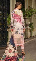 """Digital Print Sequins Embroidered Dobby Lawn Shirt Front 1.30 yards Digital Print Dobby Lawn Shirt Back and Sleeves 2.00 yards Digital Print Chiku Silk Dupatta 2.75 yards Dyed Cambric Trouser 2.65 yards Embroidered Trouser Lace on Tissue – 40"""" 01 piece"""