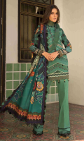 """Sequins Embroidered Lawn Shirt Front 1.30 yards Digital Print Lawn Shirt Back and Sleeves 2.00 yards Digital Print Chiku Silk Dupatta 2.75 yards Dyed Cambric Trouser 2.65 yards Sequins Embroidered Sleeve lace on Tissue – 40"""" 01 piece"""