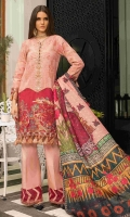 """Dyed Jacquard Complete Shirt 3.50 yards Digital Print Chiku Silk Dupatta 2.75 yards Dyed Cambric Trouser 2.65 yards Full Embroidered Border on Satin Lawn 01 piece Embroidered Border on Tissue – 60"""" 01 piece Embroidered Neck motif on Tissue 01 piece Embroidered Trouser Lace on Tissue – 40"""" 01 piece"""