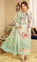 """Digital Printed Lawn Shirt 3.25 Yards Embroidered Net Dupatta 2.65 Yards Dyed Trouser 2.65 Yards Embroidered Trouser Lace on Tissue – 40"""" 01 Piece Embroidered Border Lace on Tissue – 30"""" 01 Piece 3D Flowers 12Pieces"""