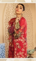 """Shirt Front Full Embroidered 1.25 Yards Shirt Back and Sleeves Printed 1.90 Yards Cotton Net Khaddi Dupatta 2.50 Yards Printed Trouser 2.65 Yards Embroidered Front and Sleeve Border Lace on Tissue – 70"""" 01 Piece Embroidered Lace on Tissue – 40"""" 01 Piece"""