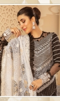 "Self Jacquard Full Embroidered Shirt Front 1.35 Yards Self Jacquard Dyed Back and Sleeves 1.90 Yards Organza Full Embroidered Dupatta with Block Printing 2.50 Yards Dyed Trouser 2.65 Yards Embroidered Side Panel on Lawn – 13"" 01 Piece Embroidered Border on Tissue – 40"" 01 Piece"