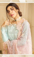 """Composed Dyed Jacquard Shirt 3.00 Yards Organza Full Embroidered Dupatta 2.50 yards Printed Trouser 2.65 Yards Embroidered Border Lace on Tissue – 30"""" 01 Piece Embroidered Neck Lace on Tissue – 40"""" 01 Piece"""