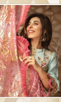 "Shirt Front Cotton Net Full Embroidered 1.00 Yards Shirt Back and Sleeves Cotton Net Dyed 1.70 Yards Pure Organza Foil Printed Dupatta 2.65 Yards Printed Trouser 2.65 Yards Sleeve Lace on Tissue – 40"" 01 Piece Embroidered Front and Back Border Lace on Tissue – 60"" 01Piece Embroidered Lace on Tissue – 72"" 01 Piece"