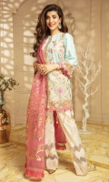 """Shirt Front Cotton Net Full Embroidered 1.00 Yards Shirt Back and Sleeves Cotton Net Dyed 1.70 Yards Pure Organza Foil Printed Dupatta 2.65 Yards Printed Trouser 2.65 Yards Sleeve Lace on Tissue – 40"""" 01 Piece Embroidered Front and Back Border Lace on Tissue – 60"""" 01Piece Embroidered Lace on Tissue – 72"""" 01 Piece"""