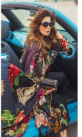 """Digital Printed Shirt with Embroidered Front 3.25 Yards Digital Printed Pure Silk Dupatta 2.73 Yards Dyed Trouser 2.65 Yards Embroidered Trouser Motif on Organza 02 Pieces Embroidered Front Border Lace – 30"""" 01 Piece"""