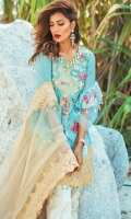 """Digital Printed Complete Shirt 3.25 Yards Embroidered Net Dupatta with Pearls 2.73 Yards Printed Trouser 2.65 Yards Embroidered Neckline on Organza 01 Piece Embroidered Front Border Lace – 30"""" 01 Piece"""