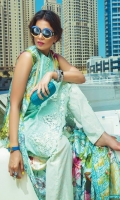 """Embroidered Shirt Front 01 Yard Digital Printed Sleeves & Back 1.90 Yards Digital Printed Pure Silk Dupatta 2.73 Yards Printed Trouser 2.65 Yards Embroidered Neck Patti on Organza – 40"""" 01 Piece Embroidered Trouser Lace on Organza - 40"""" 01 Piece Embroidered Front Border Lace – 30"""" 01 Piece"""