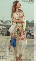 """Digital Printed Complete Shirt 3.25 Yards Digital Printed Pure Chiffon Dupatta 2.73 Yards Printed Trouser 2.65 Yards Embroidered Neckline on Organza 01 Piece Embroidered Trouser Motif on Organza 02 Pieces Embroidered Front Border Lace – 30"""" 01 Piece"""
