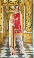 """Digital Printed Shirt with Embroidered Front - 3.25 Yards Printed Chiffon Dupatta - 2.73 Yards Printed Trouser - 2.65 Yards Embroidered Border Lace on Tissue: 30"""" - 01 Piece"""