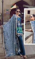 "Complete Printed Shirt 3.25 Yards Pashmina Printed Shawl 2.73 Yards Dyed Trouser 2.65 Yards Embroidered Neck Lace – 40"" 01 Piece Embroidered Sleeve lace – 40"" 01 Piece Embroidered Shirt Motifs 03 Pieces"
