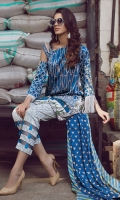 "Complete Printed Shirt 3.25 yards  Pashmina Printed Shawl 2.73 Yards Printed Trouser 2.65 Yards Embroidered Sleeve Lace – 40"" 01 Piece Embroidered Neck Lace – 40"" 01 Piece Embroidered Shirt Motifs 02 Pieces"