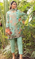 """Digital Printed Shirt 3.25 Yards Printed Lawn Dupatta 2.73 Yards Dyed Trouser 2.65 Yards Embroidered Border Lace on Tissue – 30"""" 01 Piece Embroidered Neckline on Tissue 01 Piece"""