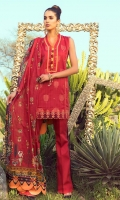 """Digital Printed Shirt with Embroidered Front 3.25 Yards Printed Lawn Dupatta 2.73 Yards Dyed Trouser 2.65 Yards Embroidered Border Lace on Tissue – 30"""" 01 Piece"""