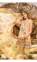 Shirt Printed with Embroidered Front 3.25 Yards Printed Bamber Chiffon Dupatta 2.73 Yards Dyed Trouser 2.65 Yards Embroidered Trouser Motifs 02 Pieces