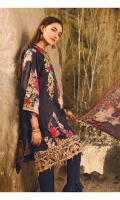 "Printed Shirt with Embroidered Front 3.25 Yards Printed Bamber Chiffon Dupatta 2.73 Yards Dyed Trouser 2.65 Yards Embroidered Daman Lace on Tissue 30"" 01 Piece Embroidered Trouser Motifs 02 Pieces"