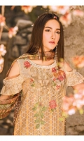 Digital Printed Shirt with Embroidered Front 3.25 Yards Printed Bamber Chiffon Dupatta 2.73 Yards Dyed Trouser 2.65 Yards Embroidered Trouser Motifs 02 Pieces