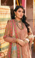 Fully sequined Embroidered shirt on net 3 yard Embroidered Sleeve motif on net with hand work 1 pair Embroidered finish patti for shirt on two tone tissue 10 yard Embroidered dupatta on two tone tissue 2.75 yard Embroidered Dupatta pallu on two tone tissue with hand work 84 inch Embroidered four side border for dupatta on two tone tissue 10 yard Dyed Shirt linning on PK raw silk 3 yard Dyed jamawar trouser 2.75 yard