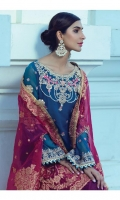 """Embroidered Dyed Chiffon Shirt with Sequins - 3.25 Yards Dyed Fancy Jacquard Dupatta - 2.73 Yards Dyed Inner Lining - 2 Yards Dyed Grip Trouser - 2.65 Yards Embroidered Border Lace on Tissue: 30"""" (Front & Back) - 02 Pieces Embroidered Neckline on Tissue with Hand Embellishment - 01 Piece"""