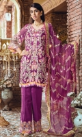 Shirt Front Embroidered on Chiffon 1.10 Yards Shirt Back Embroidered on Chiffon 1.10 Yard Sleeve Embroidered on Chiffon 0.73 Yard Dyed Grip Trouser 2.65 Yard Embroidered Chiffon Dupatta 2.50 Yard Shirt Front & Back Border on Tissue - 60