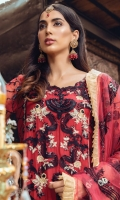 Shirt Front Embroidered on Chiffon 1.10 Yards Shirt Back & Sleeve Embroidered on Chiffon 1.68 Yard Dyed Grip Trouser 2.65 Yard Embroidered Organza Embellished Dupatta with 3D Flowers & Chata Patti 2.50 Yard Shirt Front Border on Tissue - 30