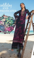 """Shirt Front Full Embroidered Digital Printed Lawn (1.30 Yards) Digital Printed Lawn Shirt Back and Sleeves (2.00 Yards) Digital Printed Pure Silk Dupatta (2.75 Yards) Dyed Trouser (2.65 Yards) Shirt Front Embroidered Border on Organza – 30"""" (01 Piece) Embroidered Trouser Motif on Organza (01 Pair) Embroidered neck lace on organza - 40"""" (01 Piece)"""