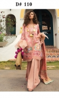 """Shirt Front Full Boring Embroidered Dobby Lawn (1.25 Yards) Shirt Back Dyed Dobby Lawn (1.25 Yards) Shirt Sleeves Full Boring Embroidered Dobby Lawn (0.70 Yards) Chanderi Full Embroidered Dupatta with Sheesha Work (2.75 Yards) Dyed Trouser (2.65 Yards) Shirt Front and Back Embroidered Border on Lawn – 60"""" (01 Piece) Embroidered Shirt Sleeves Border on Organza – 40"""" (01 Piece) Embroidered Shirt Motif on organza (02 Pieces) Embroidered Neck Lace on Organza – 40"""" (01 Piece)"""