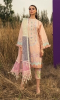 Shirt Front Full Embroidered Dobby Lawn (1.25 Yards) Digital Printed Dobby Lawn Shirt Back (1.25 Yards) Embroidered Dobby Lawn Shirt Sleeves (0.70 Yards) Multi Color Embroidered Organza Dupatta (2.75 Yards) Dyed Trouser (2.65 Yards) Embroidered Trouser Motif (01 Pair)