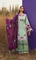 """Shirt Front Embroidered Digital Printed Dobby Lawn (1.30 Yards) Digital Printed Dobby Lawn Shirt Back and Sleeves(2.00 Yards) Full Embroidered Organza Dupatta with 3D Flowers (2.50 Yards) Dyed Trouser (2.65 Yards) Shirt Front Embroidered Border on Organza – 30"""" (01 Piece) Embroidered Pallu on Organza – 1.15 Yards (02 Pieces)"""