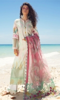 """Shirt Front Full Embroidered Digital Printed Dobby Lawn (1.30 Yards) Digital Printed Dobby Lawn Shirt Back and Sleeves (2.00 Yards) Sequins Embroidered Net Dupatta (2.75 Yards) Printed Trouser (2.65 Yards) Shirt Front Embroidered Border on Tissue – 30"""" (01 Piece) Embroidered Trouser Lace on Tissue – 40"""" (01 Pair)"""