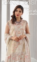 "Printed Lawn Shirt - 3.25 Yards Embroidered Net Dupatta with Hand Embellishment - 2.73 Yards Printed Trouser - 2.65 yards Embroidered Border Lace on Tissue (30"") - 01 Piece Embroidered Neck Line on Tissue - 01 Piece"