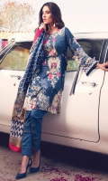 Printed Complete Shirt with Embroidered Front 3.25 Yards Printed Lawn Dupatta 2.73 Yards Dyed Trouser 2.65 Yards Embroidered Trouser Motif 02 Pcs