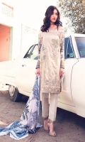 """Printed Complete Shirt with Embroidered Front 3.25 Yards Printed Lawn Dupatta 2.73 Yards Dyed Trouser 2.65 Yards Embroidered Neck Line – 40"""" 01 Piece"""