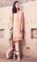 """Indian Embroidered Shirt Front 1.25 Yards Short Front Lining 1.25 Yards Printed Lawn Dupatta 2.73 Yards Dyed Trouser 2.65 Yards Embroidered Neck Line – 40"""" 01 Piece Embroidered Border Lace – 30"""" 01 Piece"""