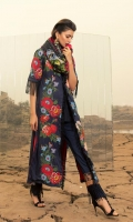 Shirt Front Digital Print with Full Embroidery - 1.28 yards Shirt Back Digital Printed - 1.28 yards Digital Sleeves Printed - 0.68 yards Woollen Shawl Printed - 2.73 yards Trouser Dyed - 2.65 yards Embroidered Front Border - 30 Inches Embroidered Neck Lace - 40 Inches