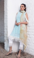 """Shirt Front Embroidered 1.00 Yards Shirt Back & Sleeves Printed 1.90 Yards Digital Printed Chiffon Dupatta 2.73 Yards Printed Trouser 2.65 Yards Embroidered Neck Lace – 40"""" 01 Piece Embroidered Border Lace – 30"""" 01 Piece"""