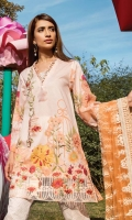 """Printed Complete Shirt 3.25 Yards Indian Embroidered Net Dupatta 2.73 Yards Printed Trouser 2.65 Yards Embroidered Front Motif 01 Piece Embroidered Border Lace – 30"""" 01 Piece"""