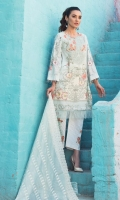 Printed Complete Shirt 3.25 Yards Indian Embroidered Net Dupatta 2.73 Yards Printed Trouser 2.65 Yards Embroidered Neck Line Motif 01 Piece Embroidered Trouser Motif 02 Pieces