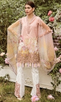 """Printed Complete Shirt 3.25 Yards Digital Printed Chiffon Dupatta 2.73 Yards Printed Trouser 2.65 Yards Embroidered Border Lace – 30"""" 01 Piece Embroidered Neck Lace – 40"""" 01 Piece Embroidered Trouser Motif 02 Pieces"""