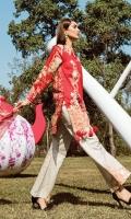 """Shirt Front Embroidered 1.25 Yards Shirt Back & Sleeves Printed 1.90 Yards Digital Printed Chiffon Dupatta 2.73 Yards Printed Trouser 2.65 Yards Embroidered Border Lace – 30"""" 01 Piece Embroidered Trouser Motif 02 Pieces"""