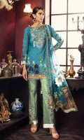 "Digital Printed Complete Shirt 3.25 Yards Chiffon Dupatta Printed 2.73 Yards Printed Trouser 2.65 Yards Embroidered Neck lace on Tissue 01 Piece Embroidered Trouser Motifs on Tissue 01 Pair Embroidered Border Lace on Tissue – 30"" 01 Piece"