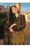 """Digital Printed Dobby Linen Shirt 3.25 Yards Embroidered Pure Bamber Chiffon Dupatta 2.50 Yards Dyed Linen Trouser 2.65 Yards Shirt Neck Embroidered Motif on Fabric 01 Piece Shirt Front Embroidered Border on Fabric – 30"""" 01 Piece Shirt Sleeves Embroidered Border – 40"""" 01 Piece"""