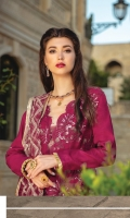 "Full Embroidered Linen Shirt 3.25 Yards Heavy Embroidered Net Dupatta 2.65 Yards Dyed Linen Trouser 2.65 Yards Shirt Back and Sleeves Embroidered Border on Tissue – 70"" 01 Piece"