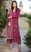 """Full Embroidered Linen Shirt 3.25 Yards Heavy Embroidered Net Dupatta 2.65 Yards Dyed Linen Trouser 2.65 Yards Shirt Back and Sleeves Embroidered Border on Tissue – 70"""" 01 Piece"""