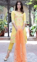 Three Piece, Shirt Fabric: Digital Printed Embroidered Lawn, Includes: Front, Back, Sleeves, Digital Printed Lawn Dupatta, Dyed Cotton Trouser