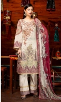 Shirt: - Digital Printed and Embroidered Air Jet Lawn Dupatta: - Printed Chiffon Trouser: - Dyed with Embroidery