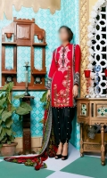 Embroidered linen shirt, Linen Trouser with Chiffon Dupatta