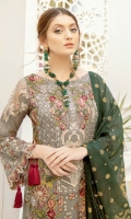 Embroidered Chiffon front with sequins– 30 inch Embroidered Chiffon back – 30 inch Embroidered Chiffon sleeves – 1.25 Meter Embroidered tissue sleeves lace pasting with patches –1.25 Embroidered tissue ghera lace – 1.5 Meter Banarsi Dupatta – 2.50 Meter Raw Silk trouser – 2.5 Meter Embroidered tissue trouser patch