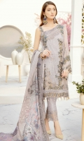 Embroidered Chiffon front with sequins– 30 inch Embroidered Chiffon back – 30 inch Embroidered Chiffon sleeves – 1.25 Meter Embroidered tissue sleeves lace – 1.25 Meter Embroidered tissue ghera lace – 1.5 Meter Digital Printed silk dupatta – 2.50 Meter Raw silk trouser – 2.5 Meter Embroidered tissue trouser patch